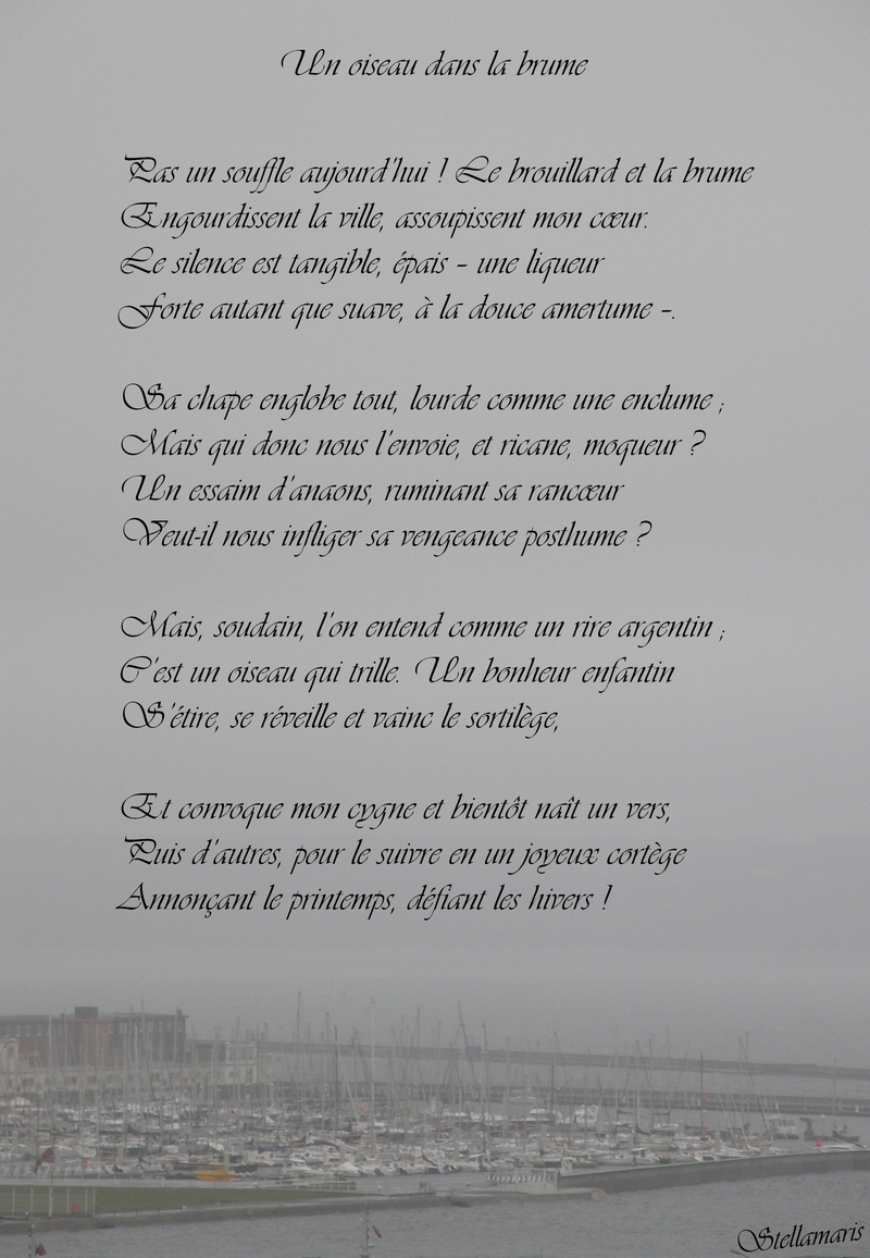 Un oiseau dans la brume / / Pas un souffle aujourd'hui ! Le brouillard et la brume / Engourdissent la ville, assoupissent mon cœur. / Le silence est tangible, épais – une liqueur / Forte autant que suave, à la douce amertume –. / / Sa chape englobe tout, lourde comme une enclume ; / Mais qui donc nous l'envoie, et ricane, moqueur ? / Un essaim d'anaons, ruminant sa rancœur / Veut-il nous infliger sa vengeance posthume ? / / Mais, soudain, l'on entend comme un rire argentin ; / C'est un oiseau qui trille. Un bonheur enfantin / S'étire, se réveille et vainc le sortilège, / / Et convoque mon cygne et bientôt naît un vers, / Puis d'autres, pour le suivre en un joyeux cortège / Annonçant le printemps, défiant les hivers ! / / Stellamaris