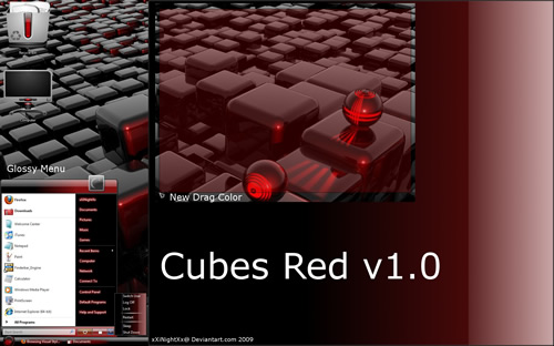 Tema Windows Vista   Cubes Red v1.0 UmbrellaMOD.CoM